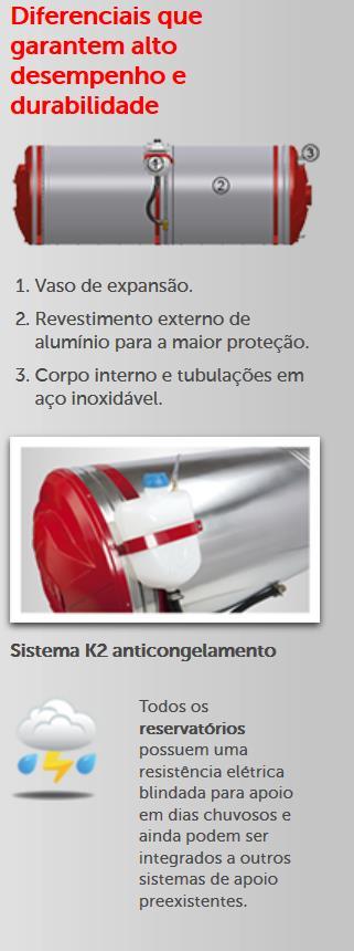 lista de diferenciais sobre o reservatório térmico para banho anticongelante